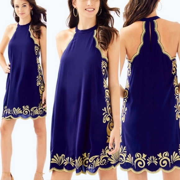 NWT Lilly Pulitzer Navy/Gold Quinn Swing Dress SzS